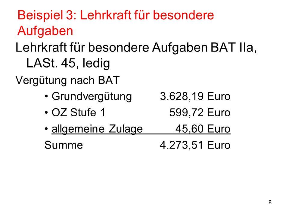 8 Beispiel 3: Lehrkraft für besondere Aufgaben Lehrkraft für besondere Aufgaben BAT IIa, LASt. 45, ledig Vergütung nach BAT Grundvergütung3.628,19 Eur