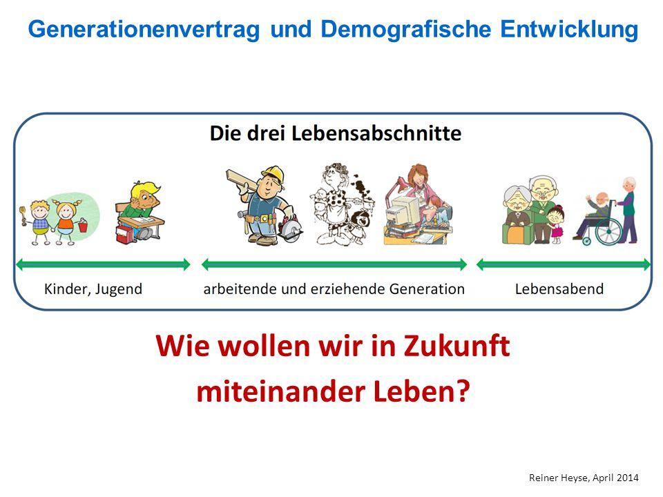 Generationenvertrag und Demografische Entwicklung Reiner Heyse, April 2014 Wie wollen wir in Zukunft miteinander Leben?