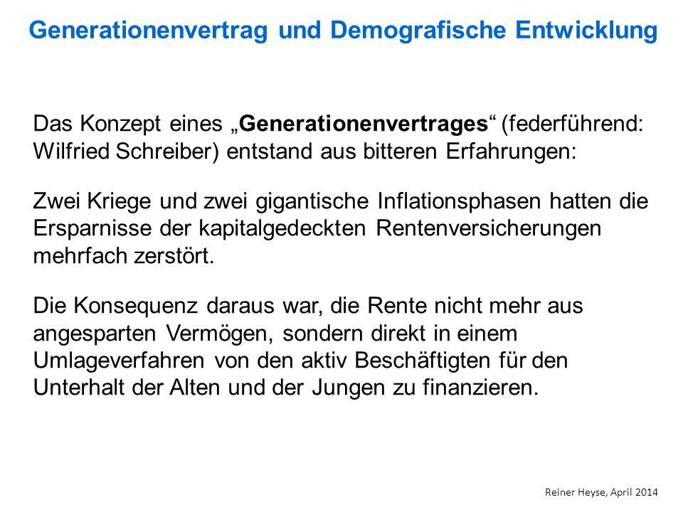 """Generationenvertrag und Demografische Entwicklung Reiner Heyse, April 2014 Das Konzept eines """"Generationenvertrages"""" (federführend: Wilfried Schreiber"""