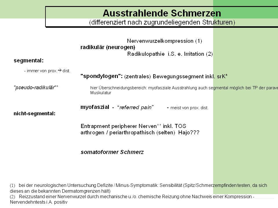 10 G 8 2005 (1) bei der neurologischen Untersuchung Defizite / Minus-Symptomatik: Sensibilität (Spitz/Schmerzempfinden testen, da sich dieses an die b