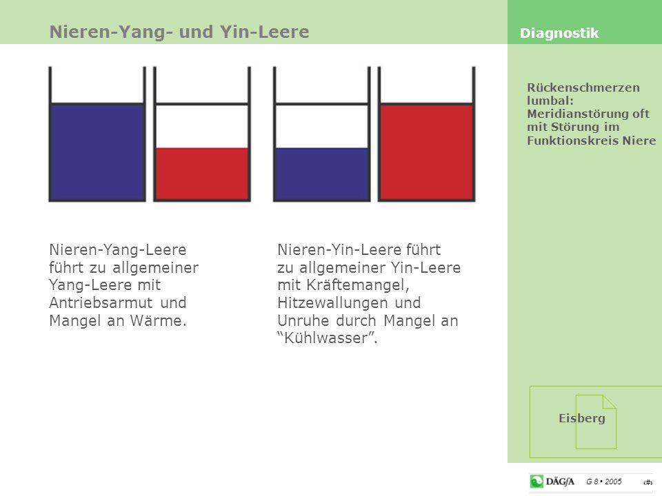 14 G 8 2005 Nieren-Yang- und Yin-Leere Diagnostik Rückenschmerzen lumbal: Meridianstörung oft mit Störung im Funktionskreis Niere Nieren-Yang-Leere fü