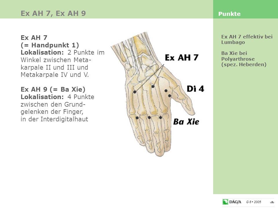 6 G 8 2005 Ex AH 7, Ex AH 9 Punkte Ex AH 7 effektiv bei Lumbago Ba Xie bei Polyarthrose (spez. Heberden) Ex AH 7 (= Handpunkt 1) Lokalisation: 2 Punkt