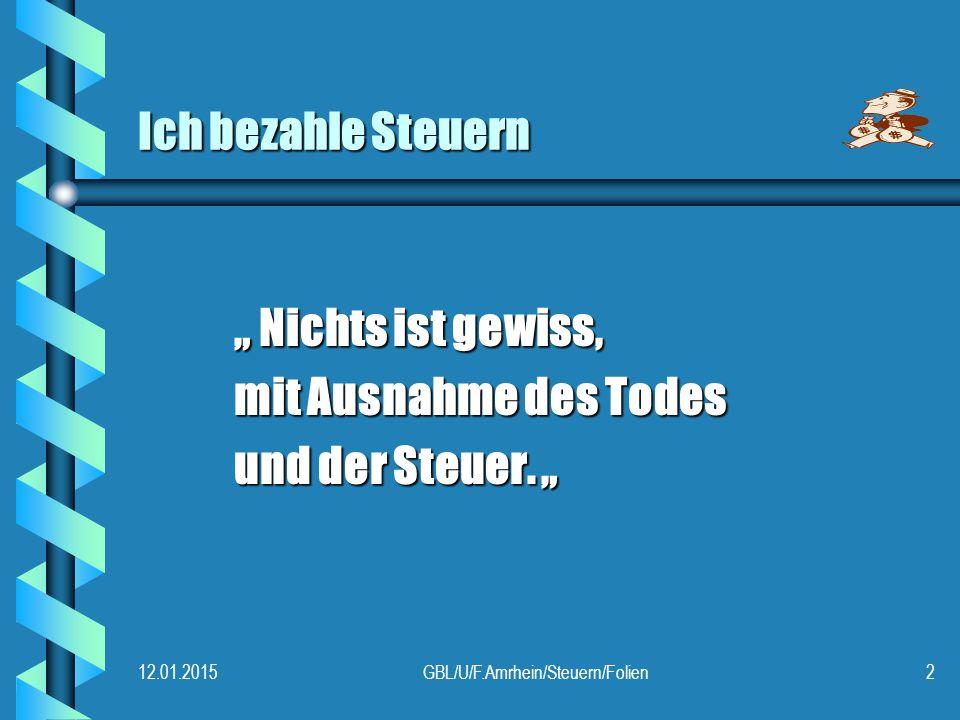 """12.01.2015GBL/U/F.Amrhein/Steuern/Folien2 Ich bezahle Steuern """" Nichts ist gewiss, mit Ausnahme des Todes und der Steuer."""