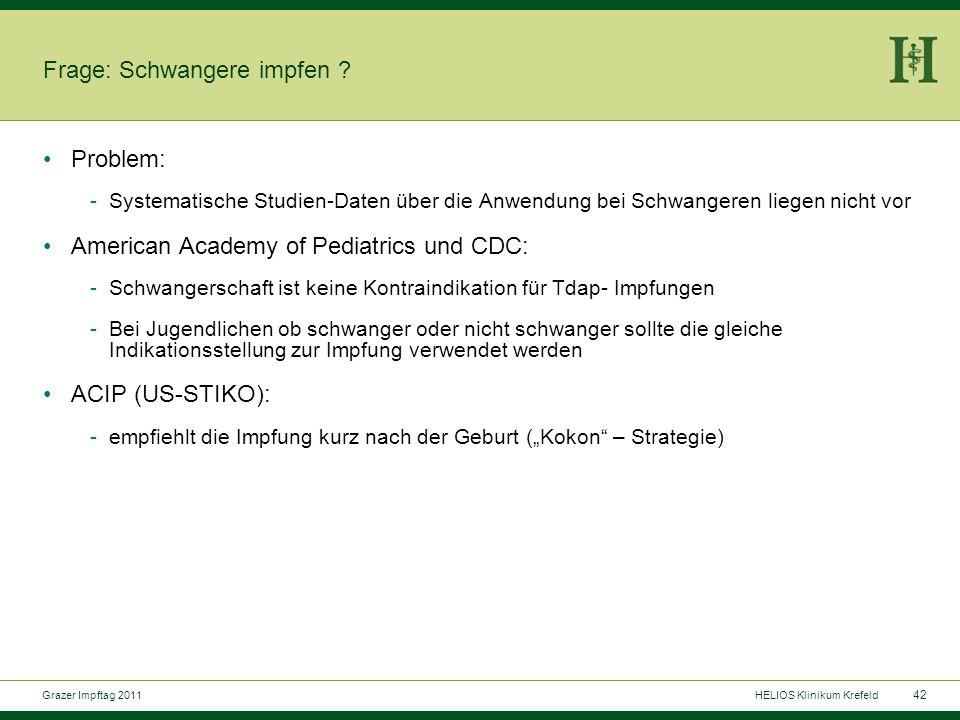 42 Grazer Impftag 2011HELIOS Klinikum Krefeld Frage: Schwangere impfen .