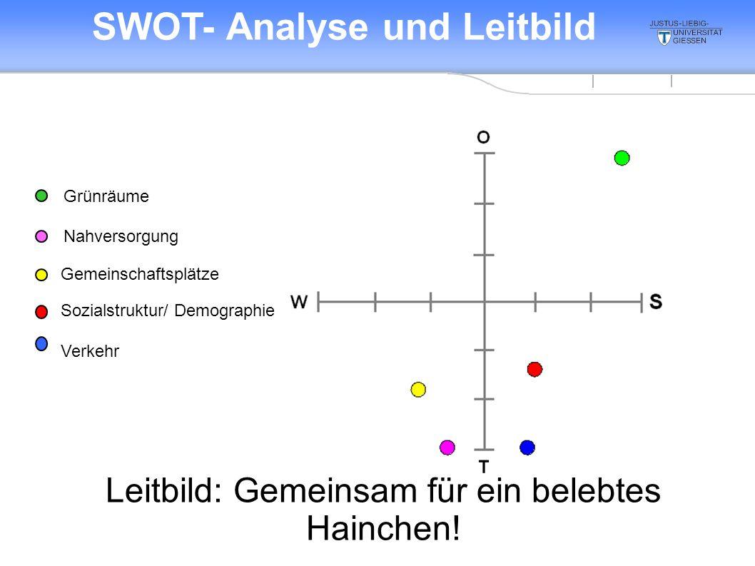 Verkehr Sozialstruktur/ Demographie Gemeinschaftsplätze Grünräume Nahversorgung SWOT- Analyse und Leitbild Leitbild: Gemeinsam für ein belebtes Hainchen!