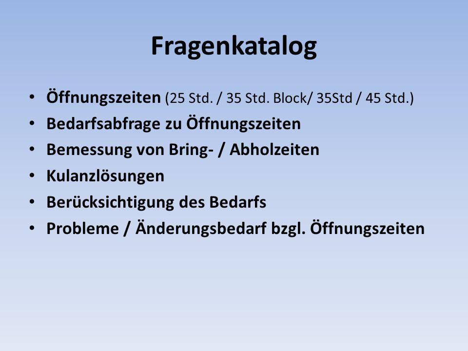 Fragenkatalog Öffnungszeiten (25 Std. / 35 Std. Block/ 35Std / 45 Std.) Bedarfsabfrage zu Öffnungszeiten Bemessung von Bring- / Abholzeiten Kulanzlösu