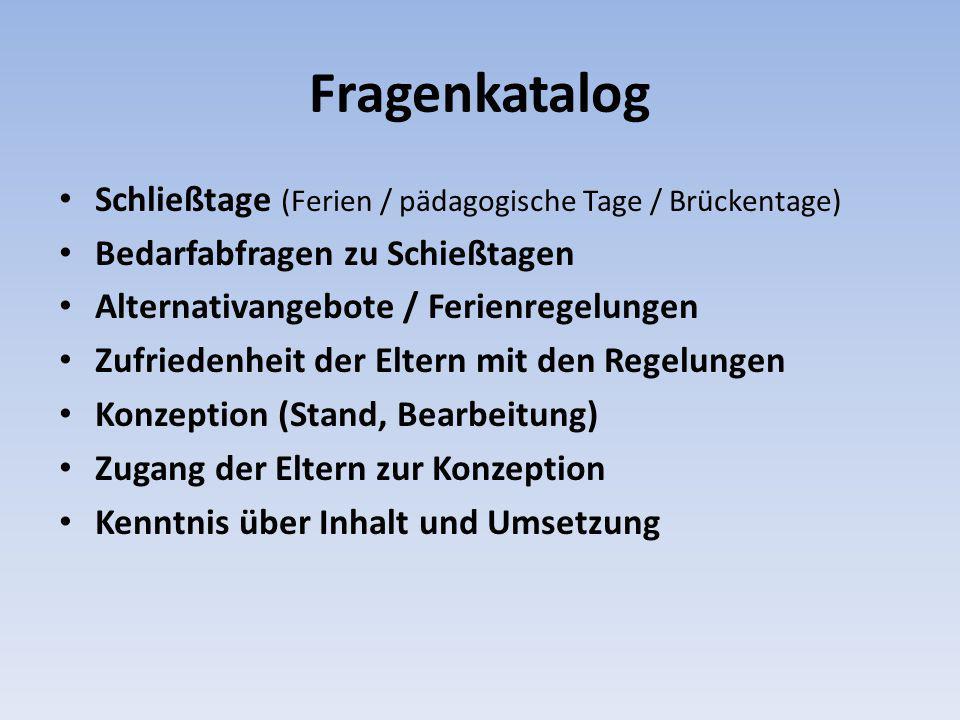 Fragenkatalog Schließtage (Ferien / pädagogische Tage / Brückentage) Bedarfabfragen zu Schießtagen Alternativangebote / Ferienregelungen Zufriedenheit