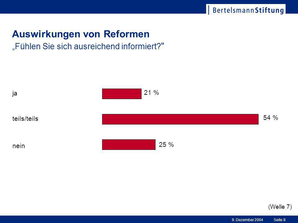 """9.Dezember 2004Seite 8 Auswirkungen von Reformen """"Fühlen Sie sich ausreichend informiert."""