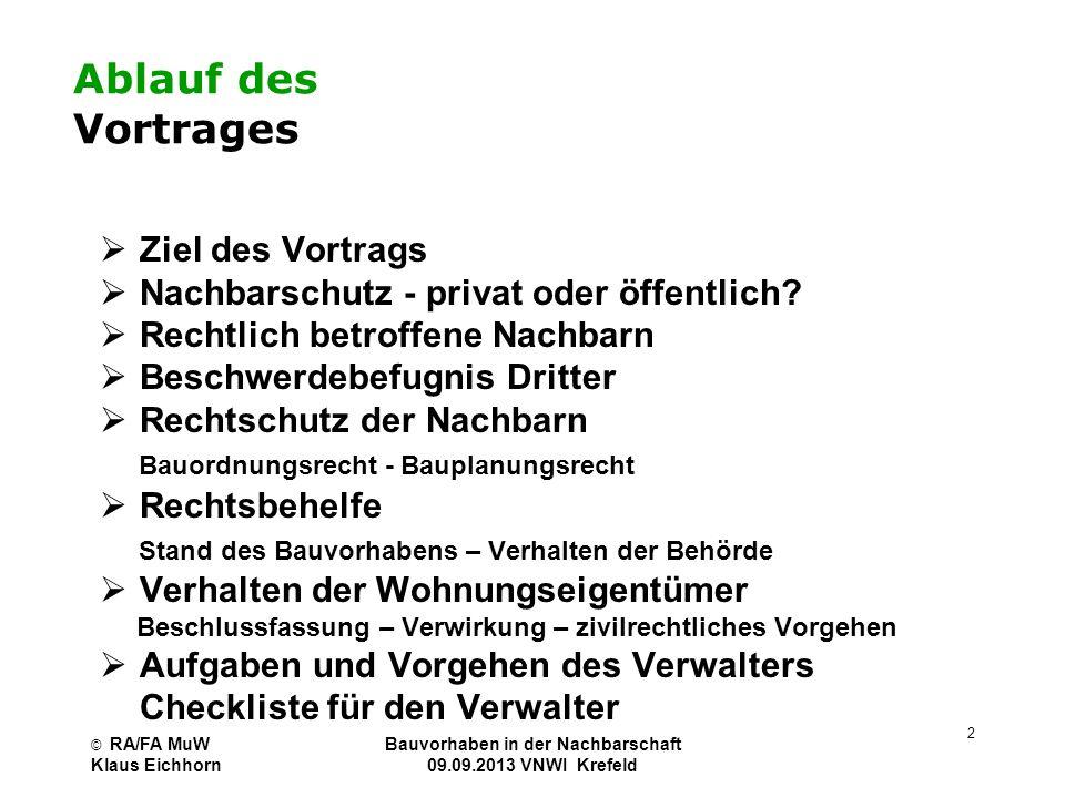 © RA/FA MuW Klaus Eichhorn Bauvorhaben in der Nachbarschaft 01.07.2013 VNWI Köln 33 Exkurs: Nachbarschutz in der WEG Sondereigentümer kann Art der Nutzung in anderem Sondereigentum mangels Klagebefugnis nicht mit öffentlich- rechtlicher Nachbarklage angreifen.