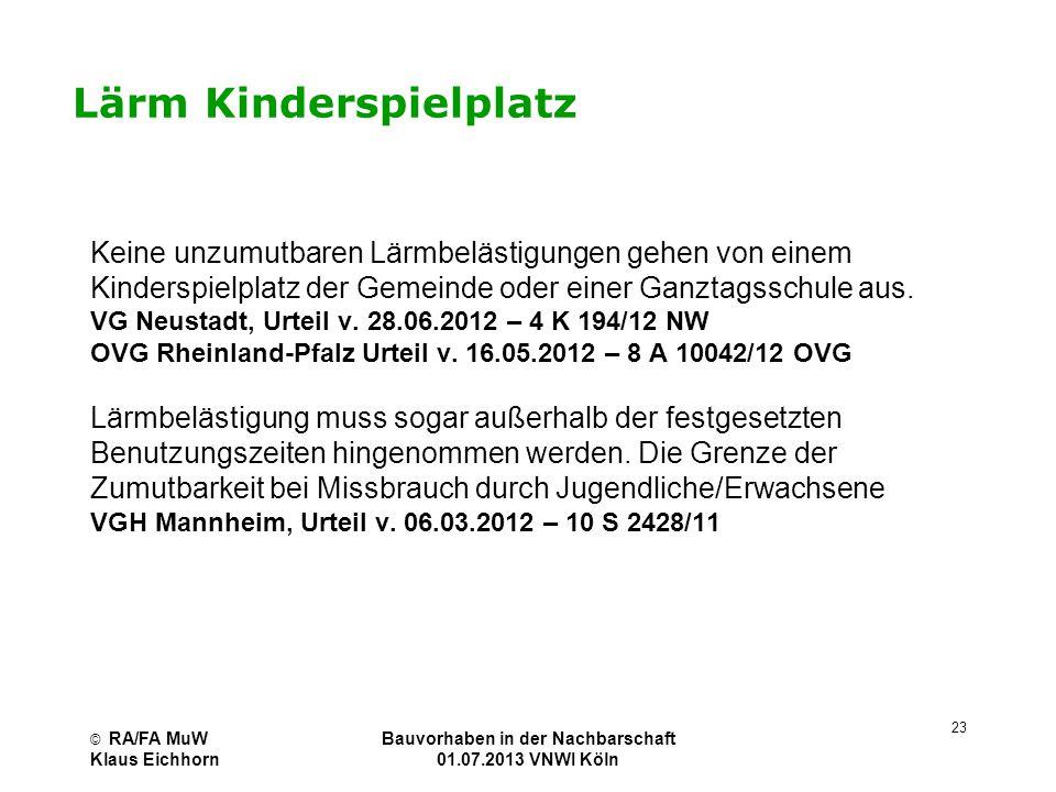 © RA/FA MuW Klaus Eichhorn Bauvorhaben in der Nachbarschaft 01.07.2013 VNWI Köln 23 Lärm Kinderspielplatz Keine unzumutbaren Lärmbelästigungen gehen v