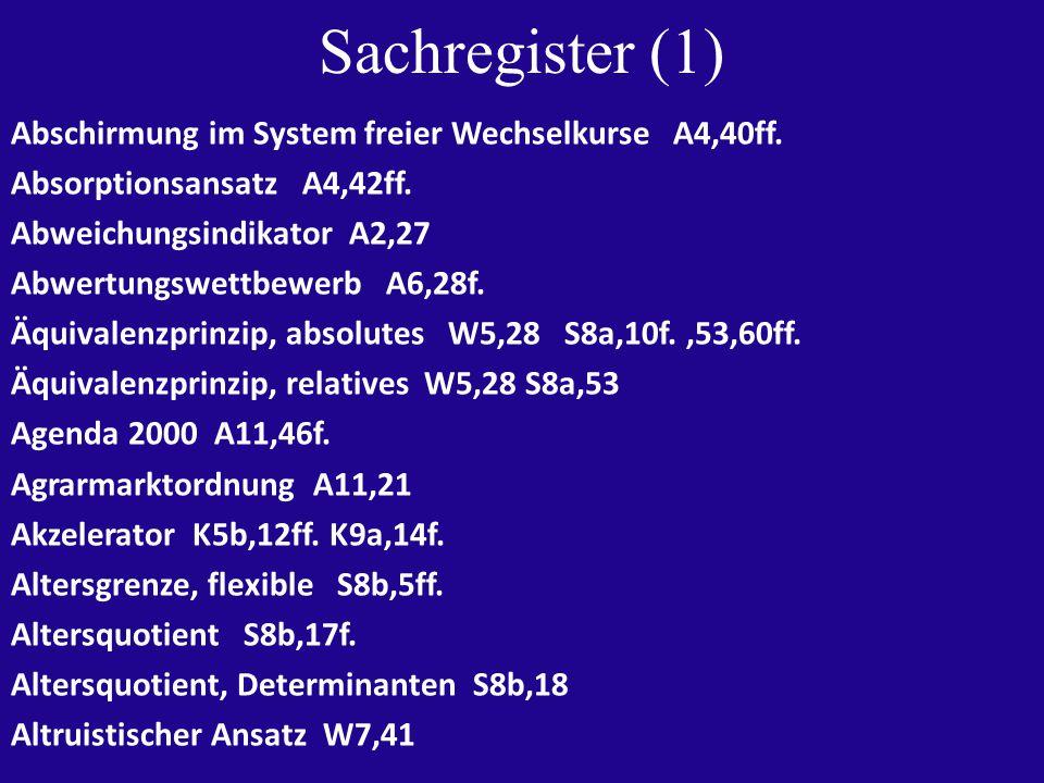 Sachregister (1) Abschirmung im System freier Wechselkurse A4,40ff.