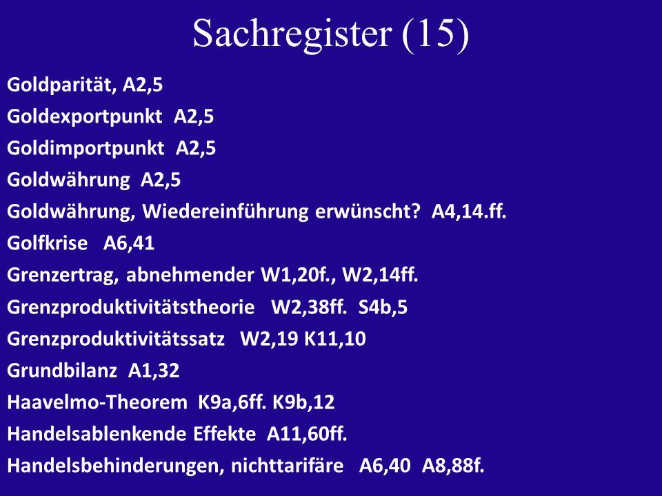 Sachregister (15) Goldparität, A2,5 Goldexportpunkt A2,5 Goldimportpunkt A2,5 Goldwährung A2,5 Goldwährung, Wiedereinführung erwünscht.