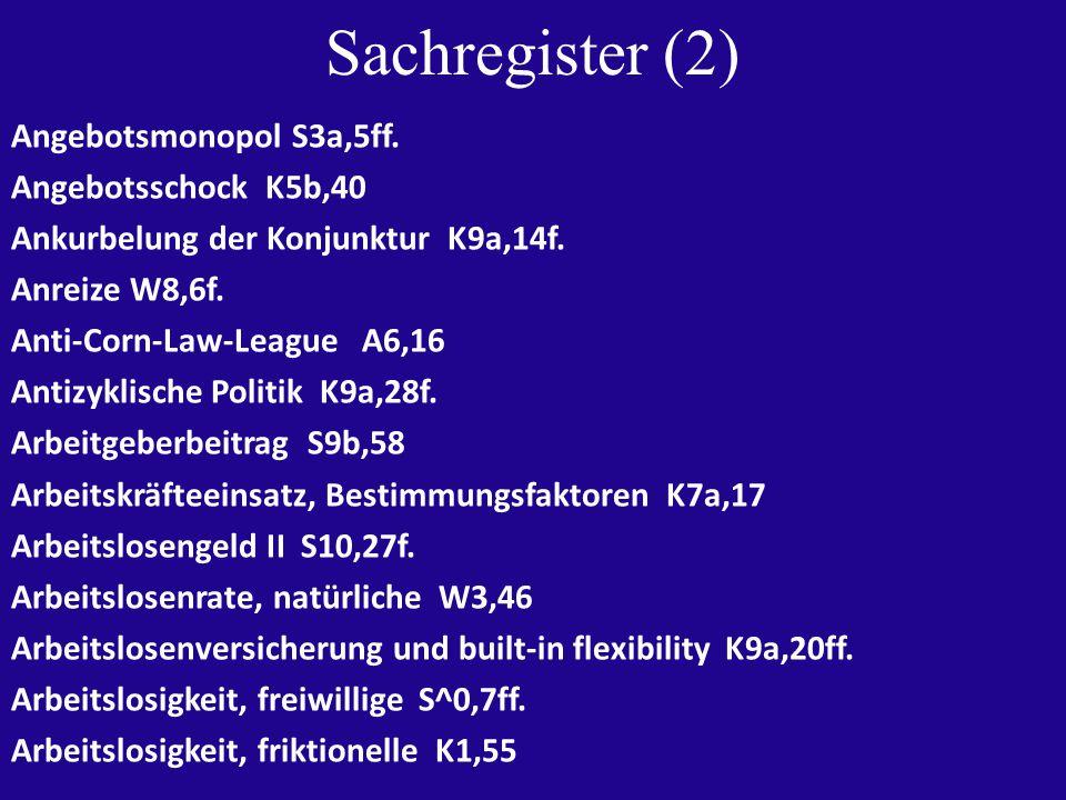Sachregister (2) Angebotsmonopol S3a,5ff. Angebotsschock K5b,40 Ankurbelung der Konjunktur K9a,14f.
