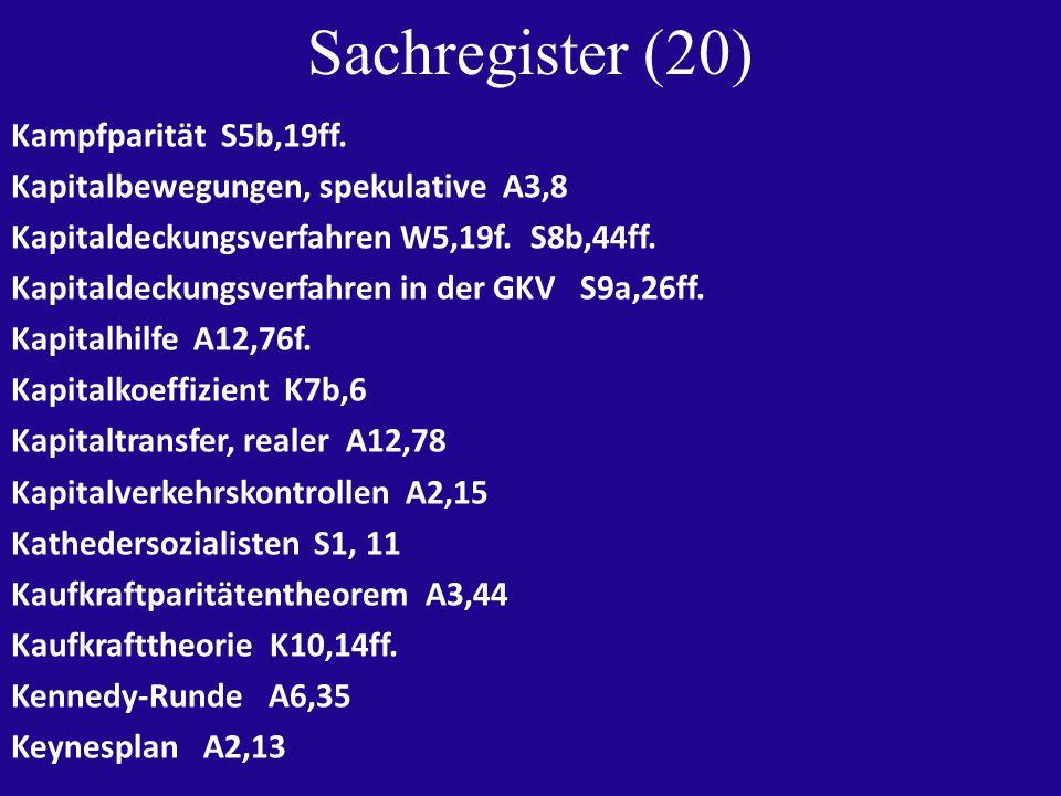 Sachregister (20) Kampfparität S5b,19ff.