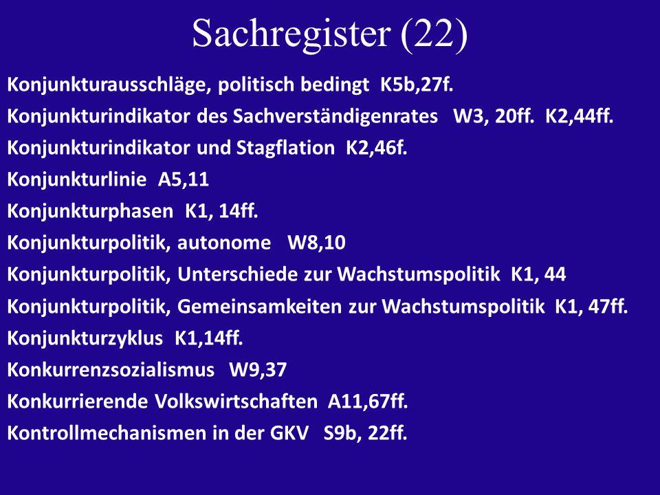 Sachregister (22) Konjunkturausschläge, politisch bedingt K5b,27f.
