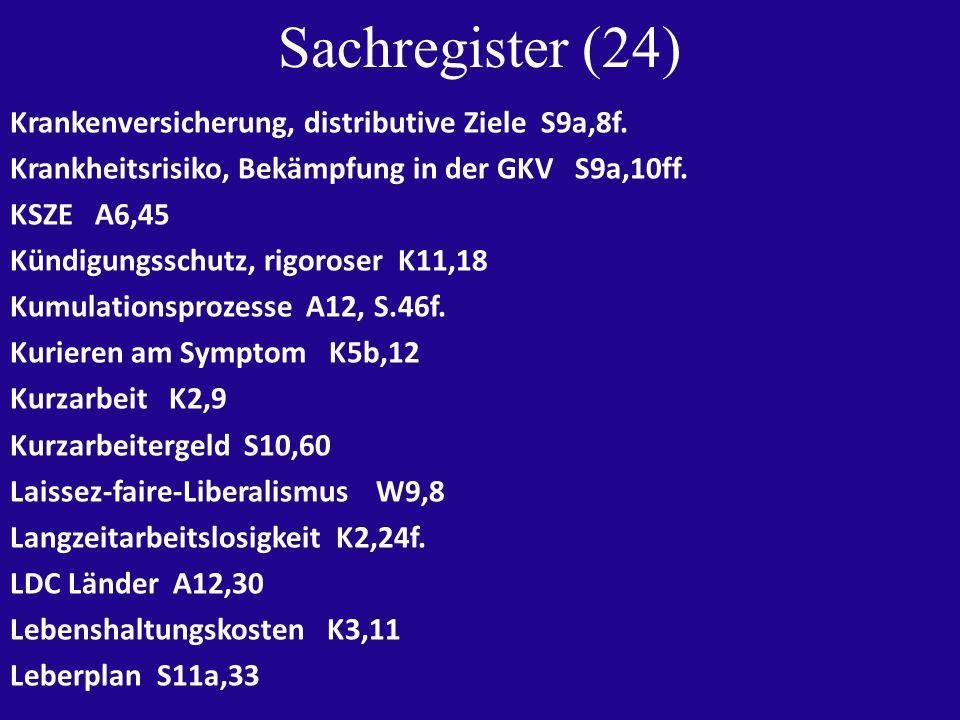 Sachregister (24) Krankenversicherung, distributive Ziele S9a,8f.