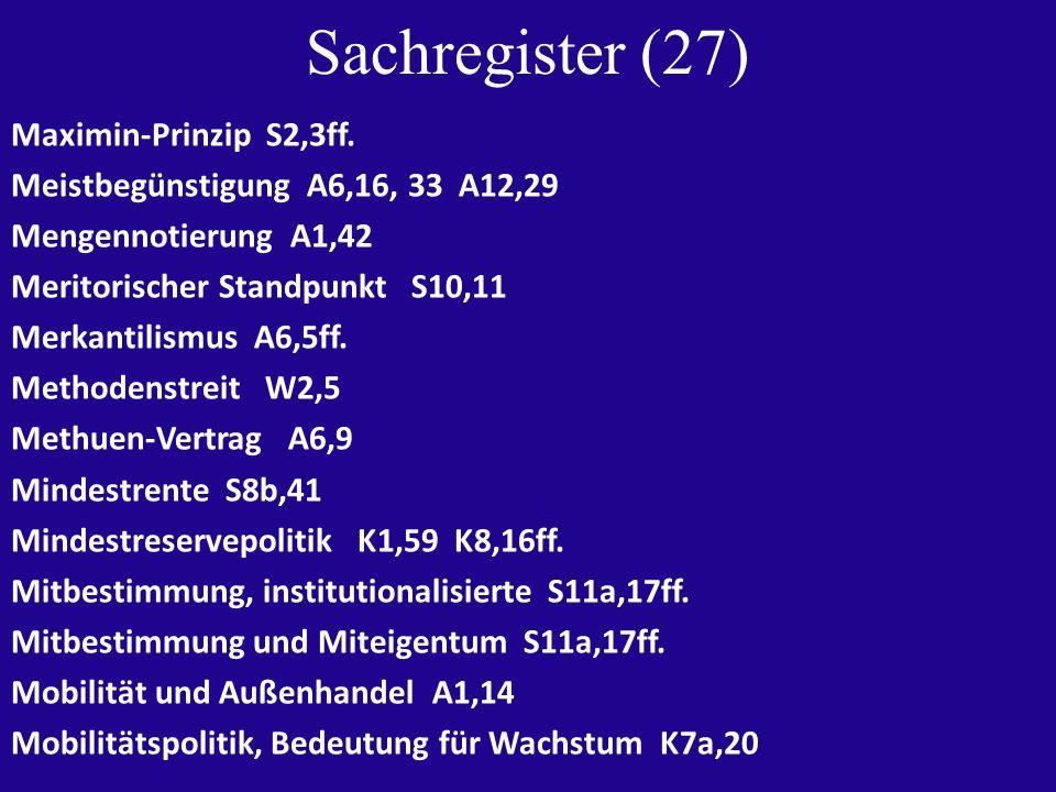 Sachregister (27) Maximin-Prinzip S2,3ff.