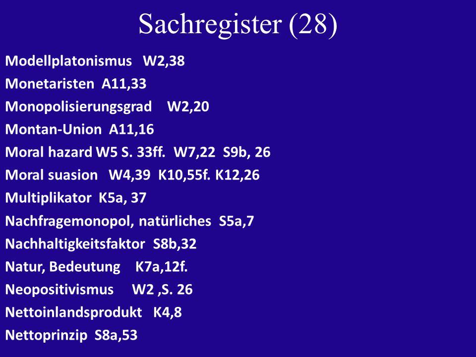 Sachregister (28) Modellplatonismus W2,38 Monetaristen A11,33 Monopolisierungsgrad W2,20 Montan-Union A11,16 Moral hazard W5 S.