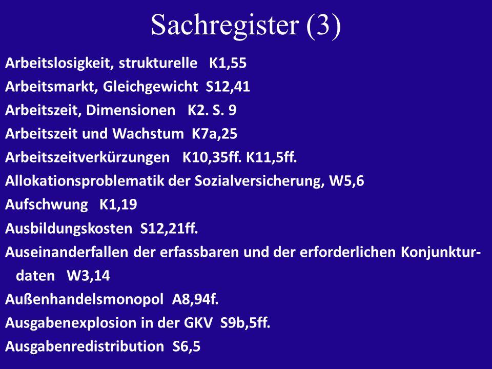 Sachregister (3) Arbeitslosigkeit, strukturelle K1,55 Arbeitsmarkt, Gleichgewicht S12,41 Arbeitszeit, Dimensionen K2.