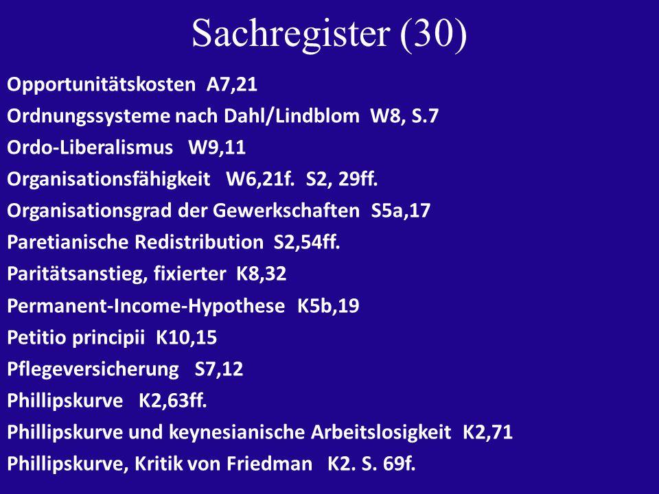 Sachregister (30) Opportunitätskosten A7,21 Ordnungssysteme nach Dahl/Lindblom W8, S.7 Ordo-Liberalismus W9,11 Organisationsfähigkeit W6,21f.