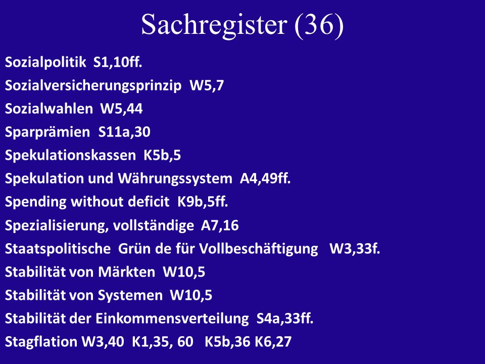 Sachregister (36) Sozialpolitik S1,10ff.