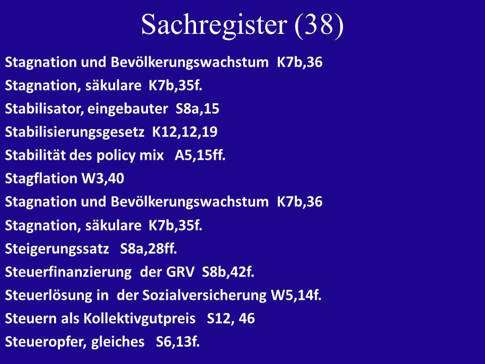 Sachregister (38) Stagnation und Bevölkerungswachstum K7b,36 Stagnation, säkulare K7b,35f.