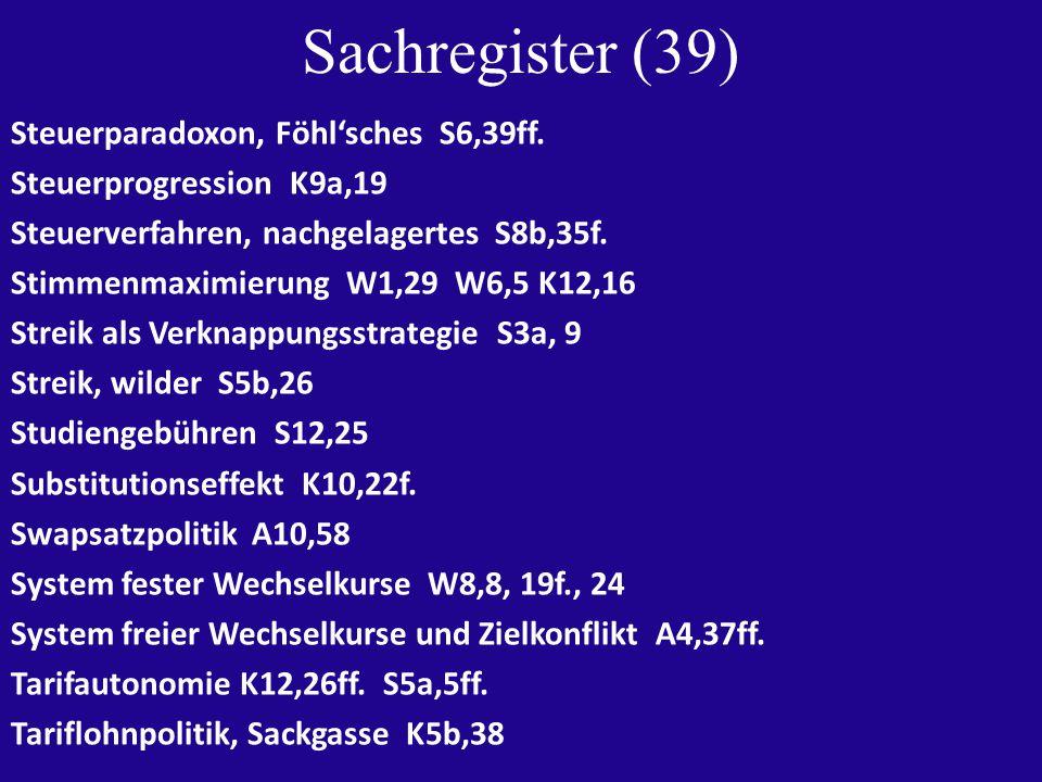 Sachregister (39) Steuerparadoxon, Föhl'sches S6,39ff.
