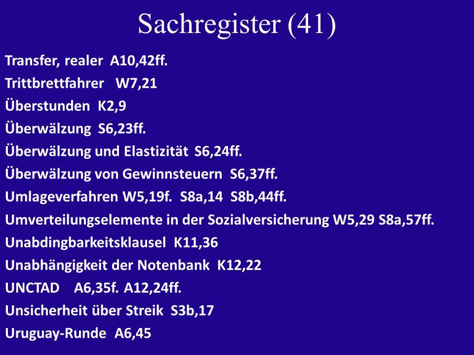 Sachregister (41) Transfer, realer A10,42ff.