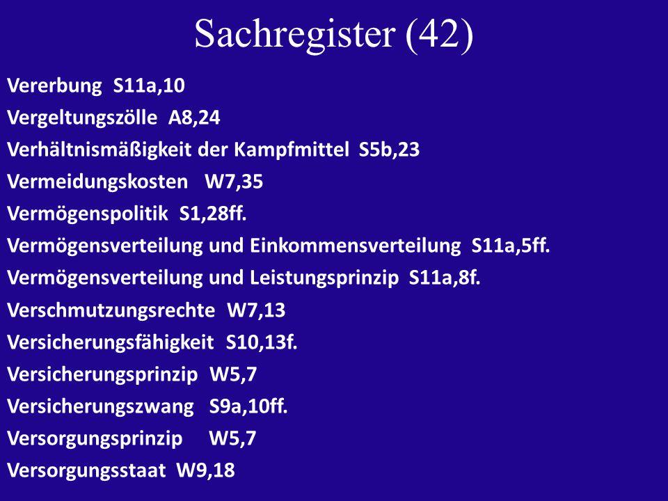 Sachregister (42) Vererbung S11a,10 Vergeltungszölle A8,24 Verhältnismäßigkeit der Kampfmittel S5b,23 Vermeidungskosten W7,35 Vermögenspolitik S1,28ff.