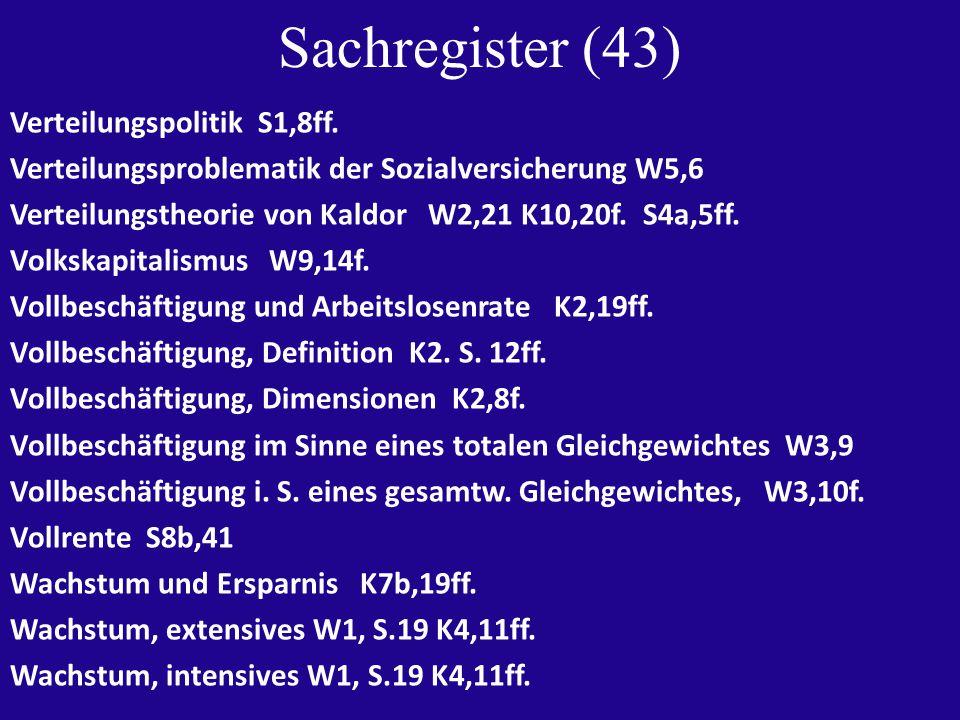 Sachregister (43) Verteilungspolitik S1,8ff.