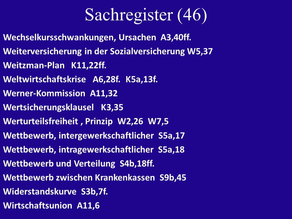 Sachregister (46) Wechselkursschwankungen, Ursachen A3,40ff.