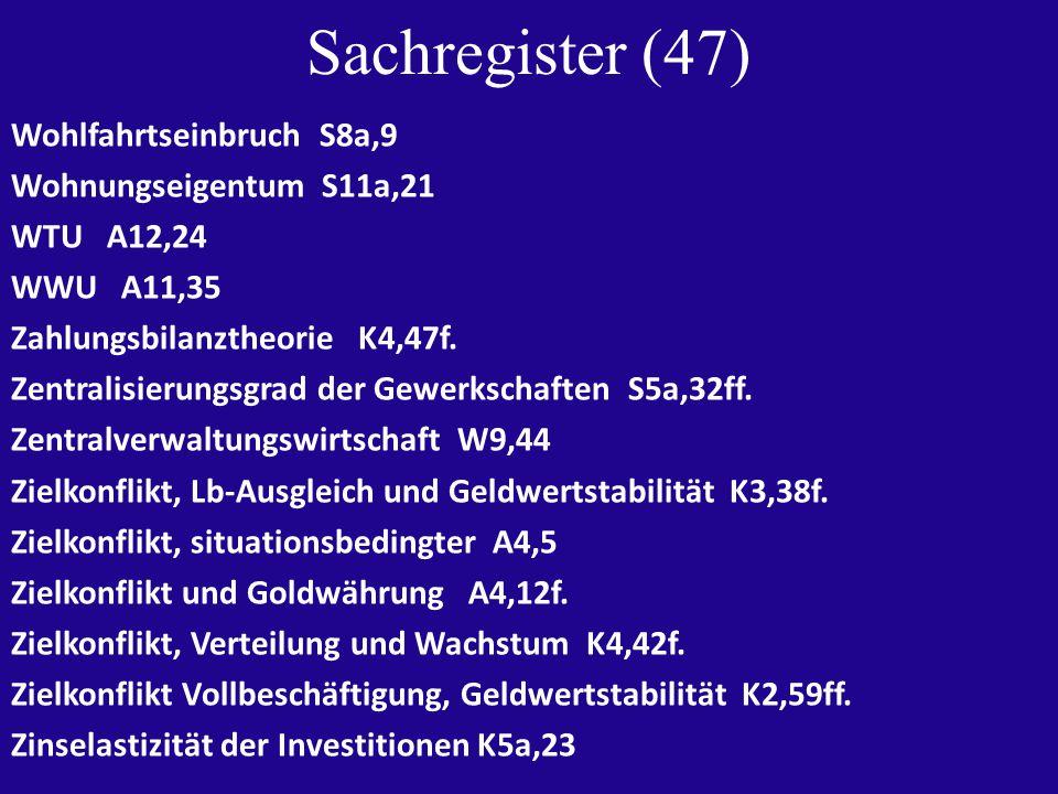 Sachregister (47) Wohlfahrtseinbruch S8a,9 Wohnungseigentum S11a,21 WTU A12,24 WWU A11,35 Zahlungsbilanztheorie K4,47f.