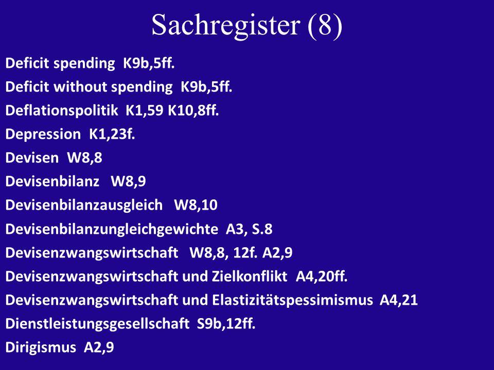 Sachregister (8) Deficit spending K9b,5ff. Deficit without spending K9b,5ff.