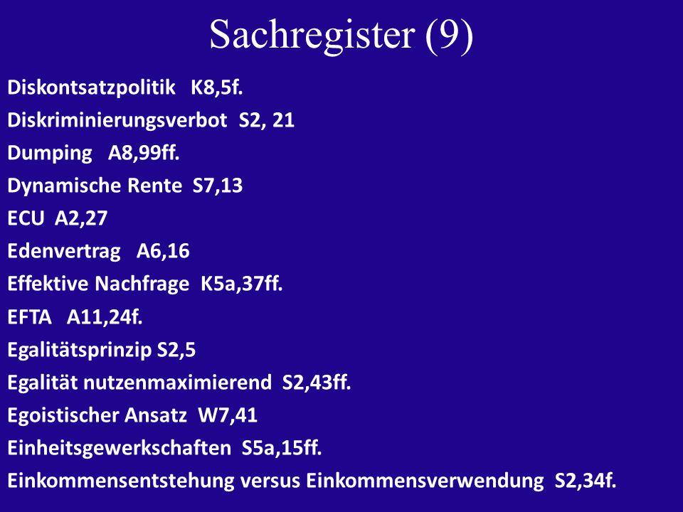 Sachregister (9) Diskontsatzpolitik K8,5f. Diskriminierungsverbot S2, 21 Dumping A8,99ff.