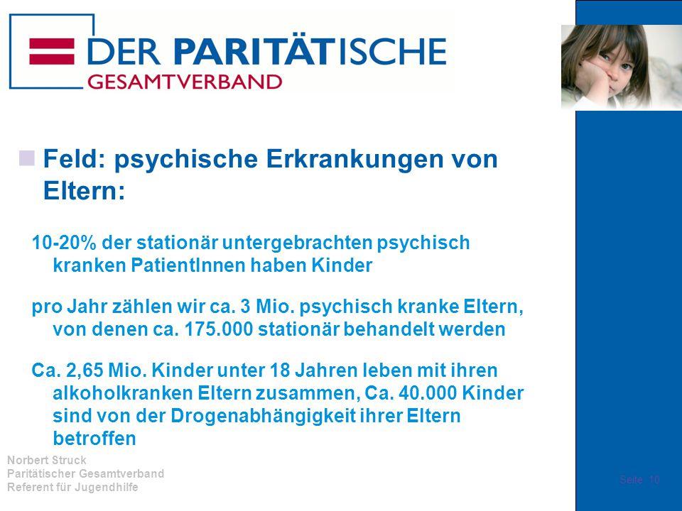 Norbert Struck Paritätischer Gesamtverband Referent für Jugendhilfe Feld: psychische Erkrankungen von Eltern: 10-20% der stationär untergebrachten psy