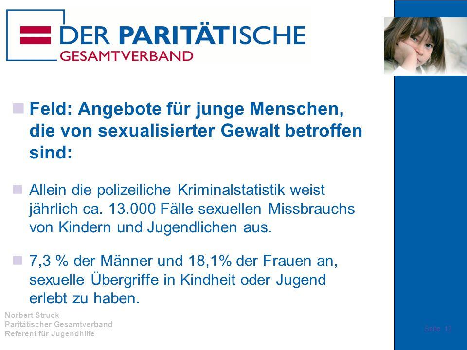 Norbert Struck Paritätischer Gesamtverband Referent für Jugendhilfe Feld: Angebote für junge Menschen, die von sexualisierter Gewalt betroffen sind: A