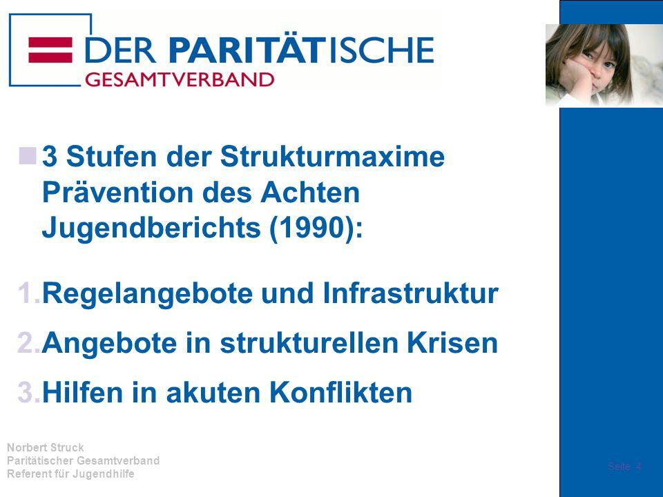 Norbert Struck Paritätischer Gesamtverband Referent für Jugendhilfe 3 Stufen der Strukturmaxime Prävention des Achten Jugendberichts (1990): 1.Regelan
