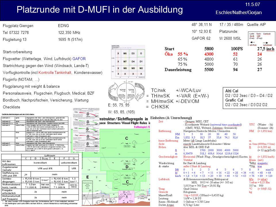 Platzrunde mit D-MUFI in der Ausbildung 11.5.07 Eschler/Nather/Gorjan Übergang Reiseflug 4 Leistungshebel 22 Inch HG (24) Propverstellung 4000 U/min (43) Kraftstoffpumpe aus Trimmung Höhenruder einstellen auf: Nase ab (kopflastig) sinken ab: Nase auf (schwanzlastig) steigen START 4 Propellerverstellung 2.