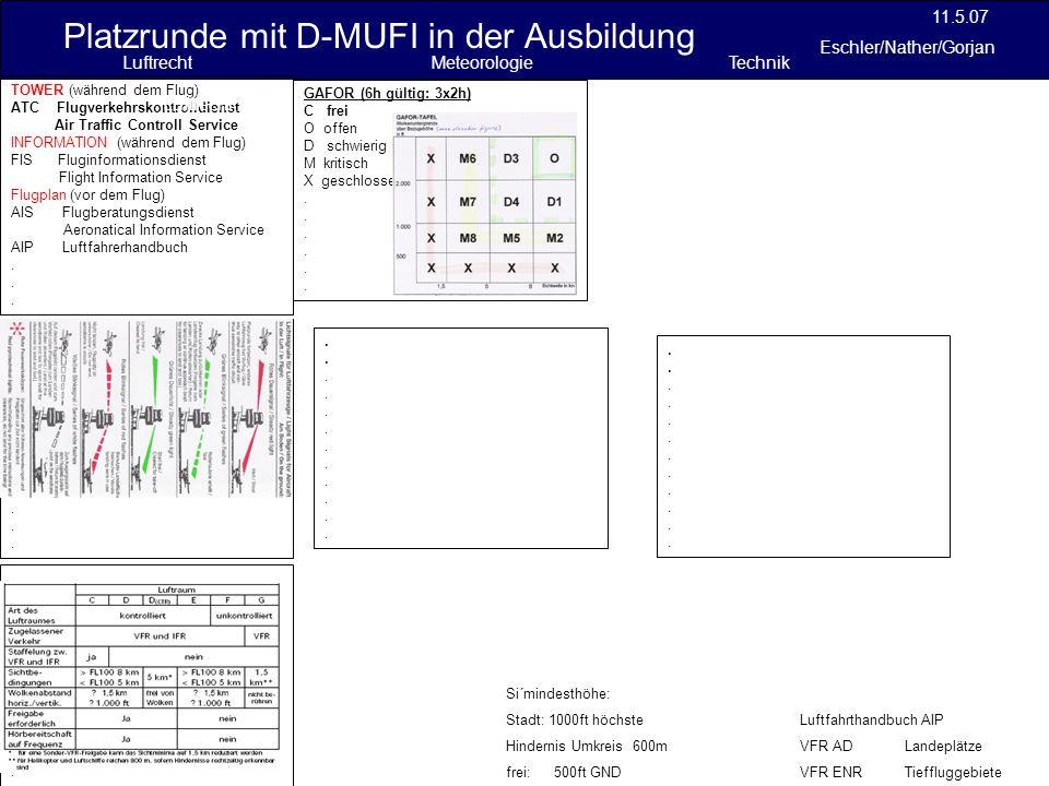 Platzrunde mit D-MUFI in der Ausbildung 11.5.07 Eschler/Nather/Gorjan Si´mindesthöhe: Stadt: 1000ft höchste Hindernis Umkreis 600m frei: 500ft GND Luf