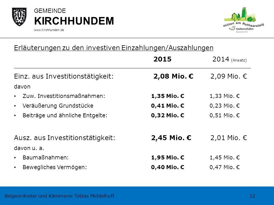 Beigeordneter und Kämmerer Tobias Middelhoff 12 GEMEINDE KIRCHHUNDEM www.kirchhundem.de Erläuterungen zu den investiven Einzahlungen/Auszahlungen 2015
