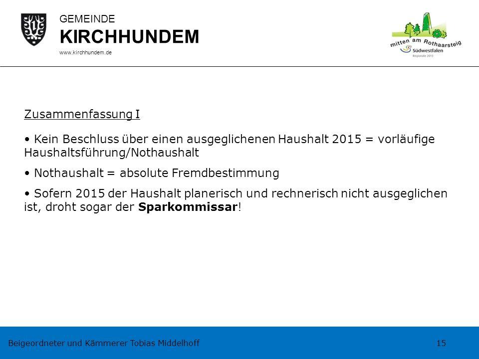 Beigeordneter und Kämmerer Tobias Middelhoff 15 GEMEINDE KIRCHHUNDEM www.kirchhundem.de Zusammenfassung I Kein Beschluss über einen ausgeglichenen Hau