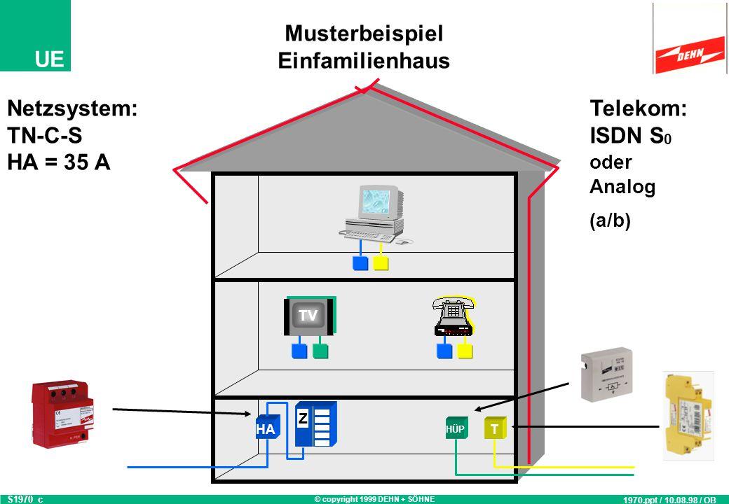 © copyright 1999 DEHN + SÖHNE UE Musterbeispiel Einfamilienhaus T HA Z HÜP TV Netzsystem: TN-C-S HA = 35 A S1970_b 1970.ppt / 10.08.98 / OB Telekom: ISDN S 0 oder Analog (a/b)