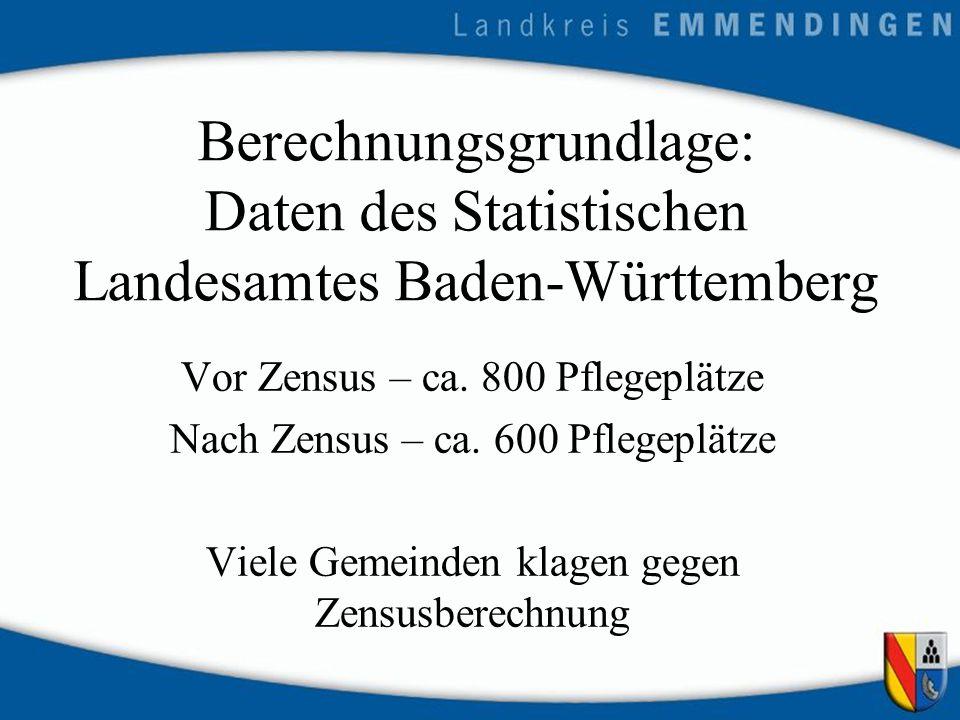 Berechnungsgrundlage: Daten des Statistischen Landesamtes Baden-Württemberg Vor Zensus – ca.