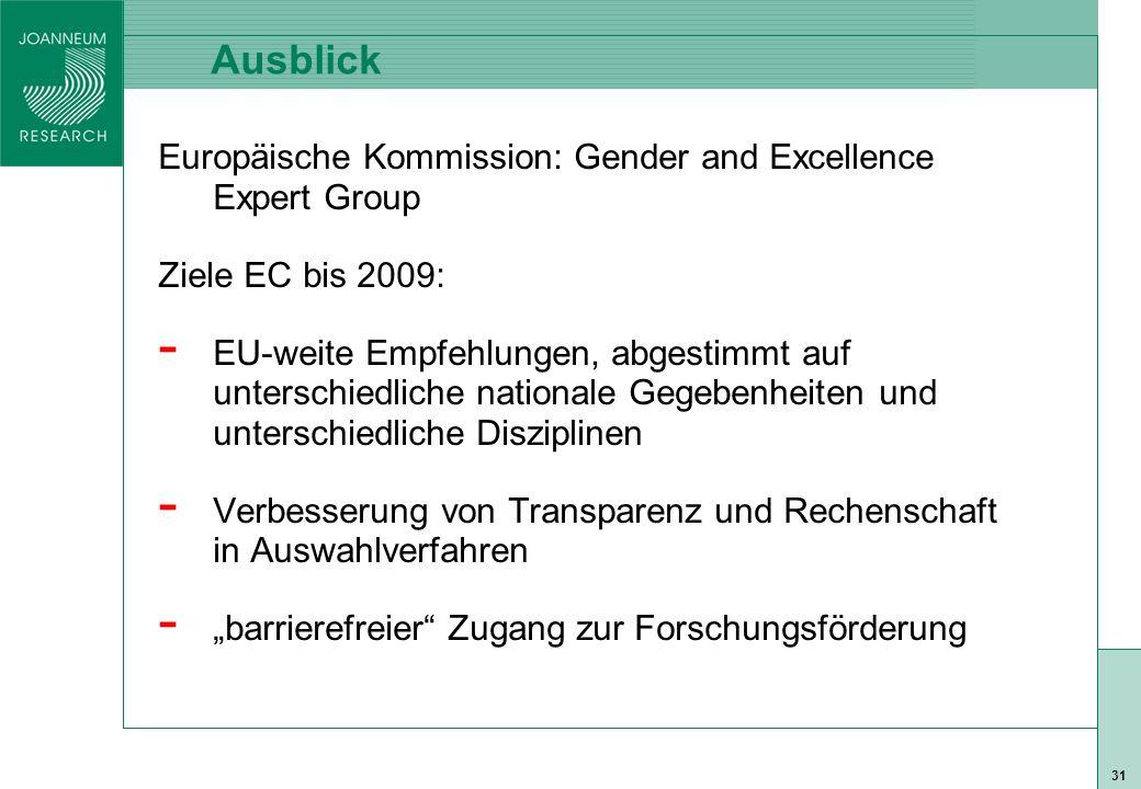 """ISO 9001 zert 31 Ausblick Europäische Kommission: Gender and Excellence Expert Group Ziele EC bis 2009: - EU-weite Empfehlungen, abgestimmt auf unterschiedliche nationale Gegebenheiten und unterschiedliche Disziplinen - Verbesserung von Transparenz und Rechenschaft in Auswahlverfahren - """"barrierefreier Zugang zur Forschungsförderung"""