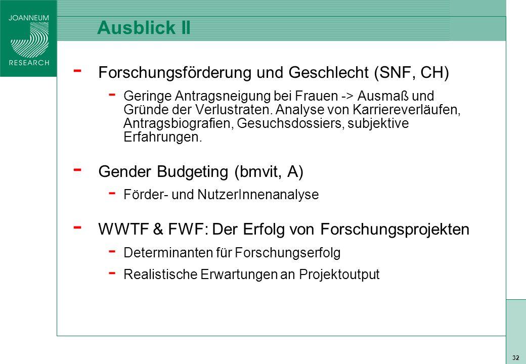 ISO 9001 zert 32 Ausblick II - Forschungsförderung und Geschlecht (SNF, CH) - Geringe Antragsneigung bei Frauen -> Ausmaß und Gründe der Verlustraten.