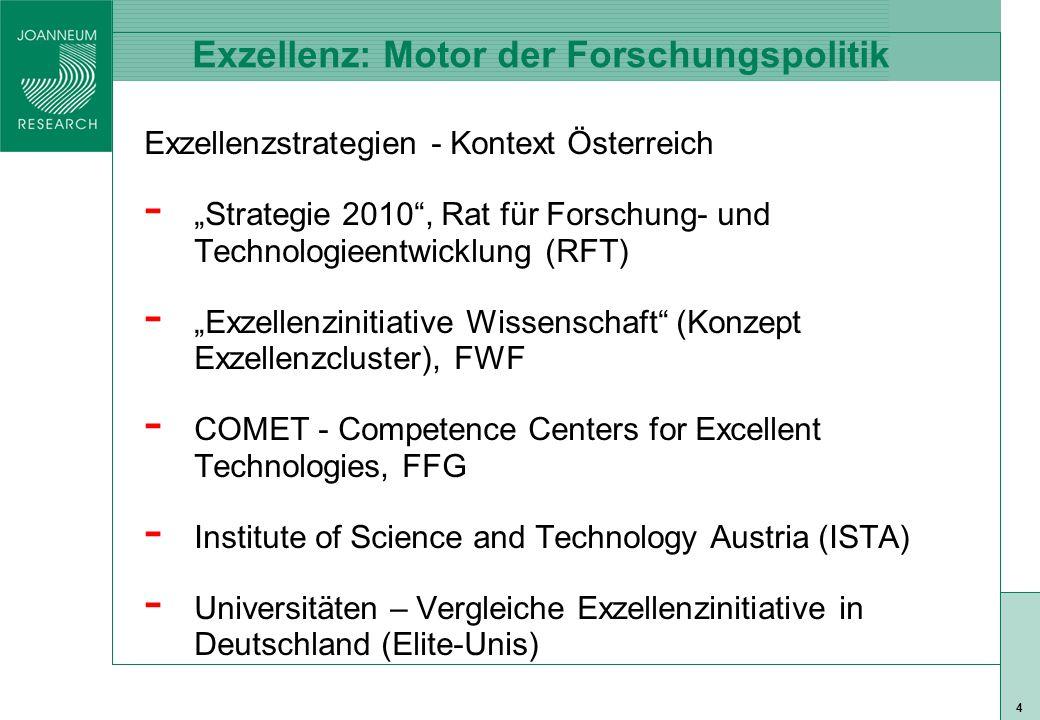 ISO 9001 zert 5 Exzellenz: Motor der Forschungspolitik II Exzellenzstrategien - Kontext EU - Lissabon: EU 2010 -> wettbewerbsfähigster und wissensbasierter Wirtschaftsraum (vs.