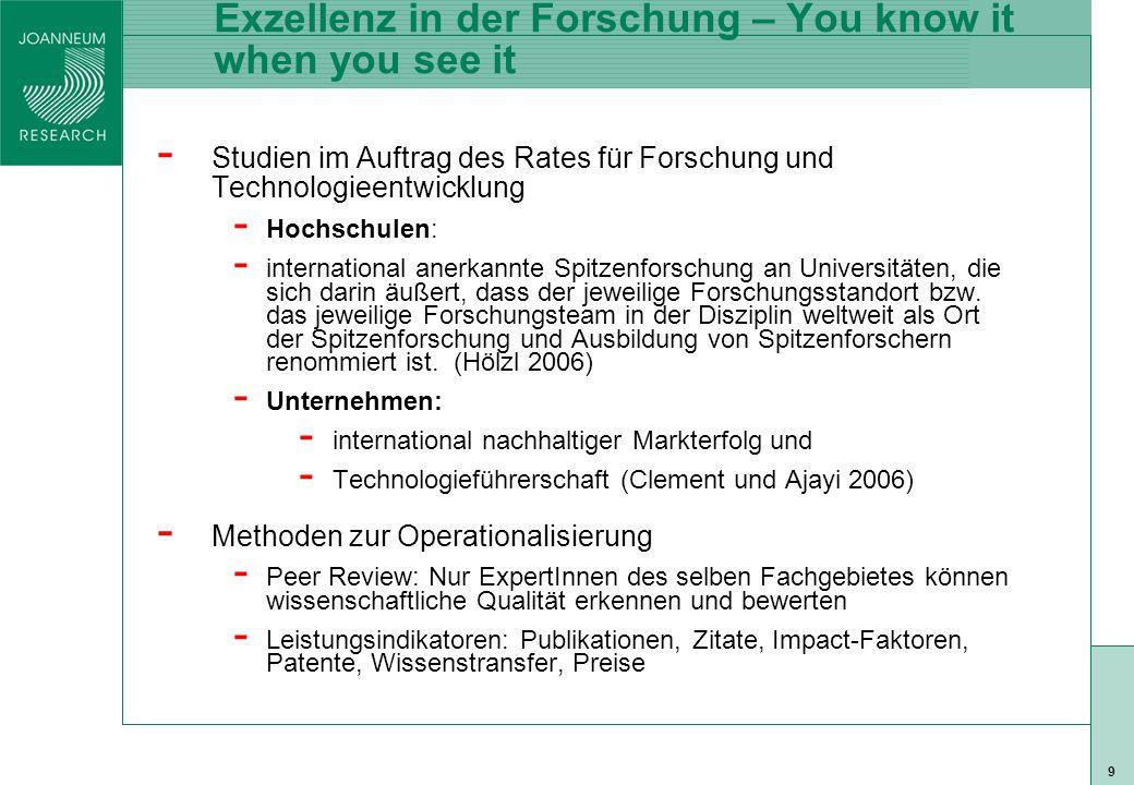 ISO 9001 zert 9 Exzellenz in der Forschung – You know it when you see it - Studien im Auftrag des Rates für Forschung und Technologieentwicklung - Hochschulen: - international anerkannte Spitzenforschung an Universitäten, die sich darin äußert, dass der jeweilige Forschungsstandort bzw.