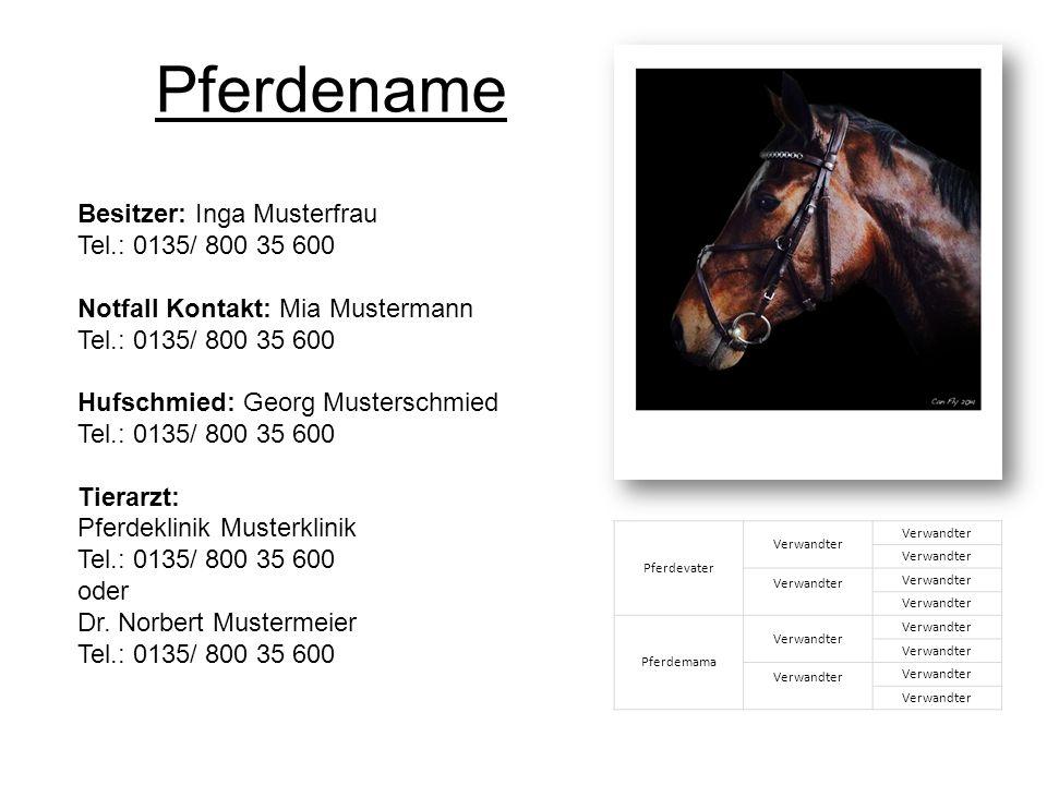 Besitzer: Inga Musterfrau Tel.: 0135/ 800 35 600 Notfall Kontakt: Mia Mustermann Tel.: 0135/ 800 35 600 Hufschmied: Georg Musterschmied Tel.: 0135/ 800 35 600 Tierarzt: Pferdeklinik Musterklinik Tel.: 0135/ 800 35 600 oder Dr.