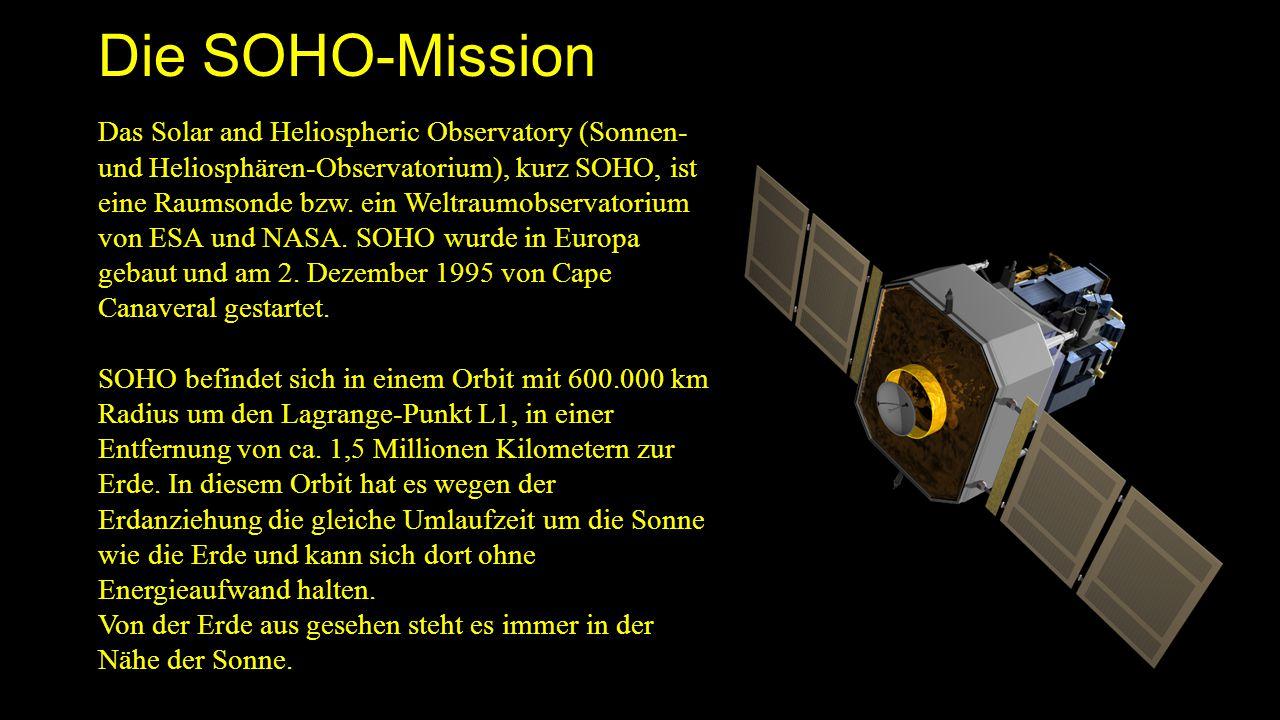 Die SOHO-Mission Das Solar and Heliospheric Observatory (Sonnen- und Heliosphären-Observatorium), kurz SOHO, ist eine Raumsonde bzw. ein Weltraumobser