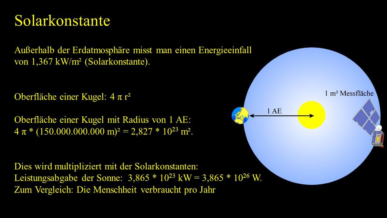 Solarkonstante Außerhalb der Erdatmosphäre misst man einen Energieeinfall von 1,367 kW/m² (Solarkonstante). Oberfläche einer Kugel: 4 π r² Oberfläche